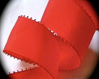"""Taffeta Ribbon 2""""  x 2 yards - Made in Switzerland Red Picot Edge"""