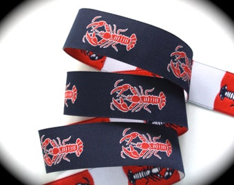 """Lobster Woven Ribbon -  1""""   Navy, Red and White - New"""