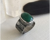 Natural Emerald Ring Fine Silver and Sterling Silver Handmade Unique Patterned Design