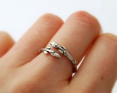 Twig wrap ring - sterling silver willow branch with buds ring