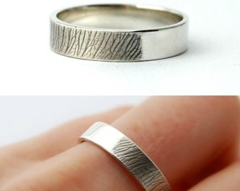 Samara band - sterling silver nature band