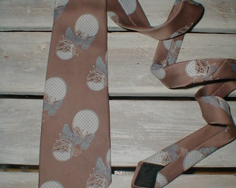 Unique Polyester Butterfly Necktie *Taupe With Blue Butterflies* Cool Retro Tie!