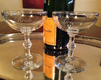 Bride and Groom Vintage Champagne Coupe Toasting Glasses Set of 2