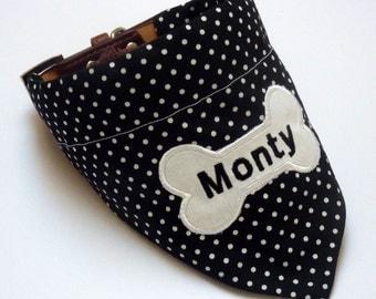 Personalised Dog Bandana - Black & White Polka Dot