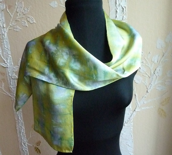 Silk Charmeuse Hand Dyed Scarf in Chartreuse, Purple, Lime