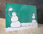Football Christmas Holiday Card, Blank, Snowmen having fun series
