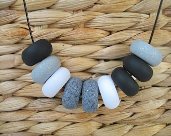 Polymer Clay Bead Necklace- Granite, Black, White and Grey With a Touch of Glitter