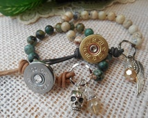 Shotgun Jewelry 20 Gauge ~ Hand Knotted African Opal Bracelet ~ Leather Charms Crystals ~ Made in USA ~ Bohemian Cowgirl
