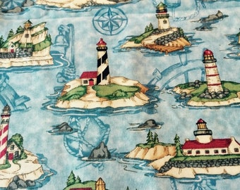 """100% cotton quilting fabric lighthouse allover a Leslie Beck design for Cranston 45"""" wide sold by the yard"""