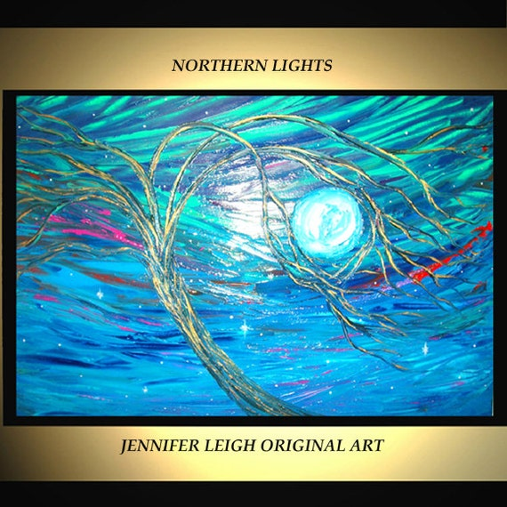 Original Large Abstract Painting Modern Acrylic Oil Painting Canvas Art Green Blue Gold Northern Lights  36x24 Palette Knife Texture J.LEIGH