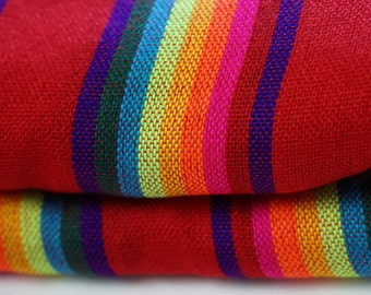 "Mexican Fabric Red Striped and Colorful 31"" width by one yard."