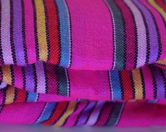 "Mexican Fabric Pink Striped and Colorful 31"" width by one yard."