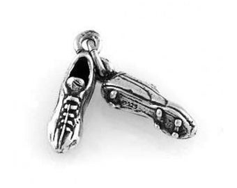 Sterling Silver Pair of Soccer Cleats Charm (3d Charm)