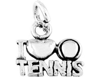Sterling Silver I Love Tennis Charm (Flat charm)