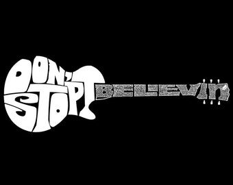 Girl's T-shirt - Guitar created out of the words Don't Stop Believin'