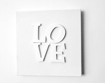 Minimalist  Art, Canvas LOVE Art, Wedding Gift,  Home and Living, Home Decor, Decor and Housewares, White Art