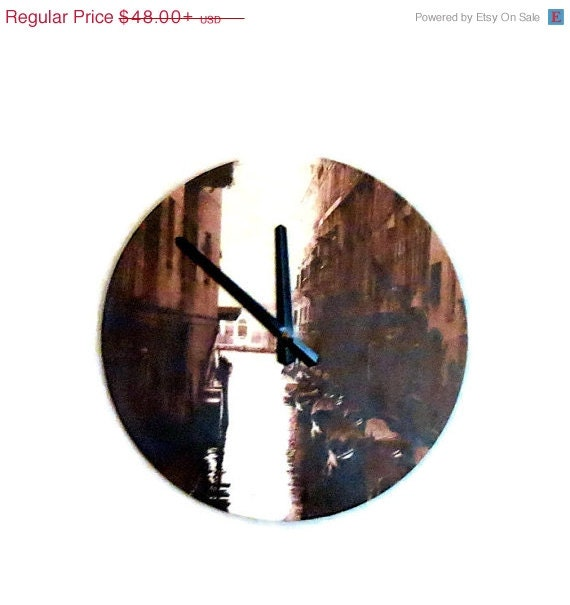 Sale Unique Wall Clock Sepia Print Decor And By Shannybeebo