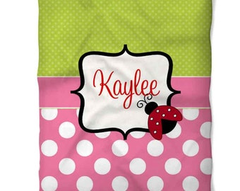 Personalized Ladybug Fleece Blanket