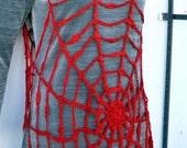 Halloween Clothing Lydia Deetz Look Red Spiderweb Halloween Costume Women Tunic Top Vest Crochet Mesh Fishnet Sexy Dress Beetlejuice Costume