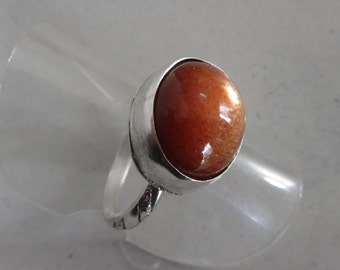 Natural Sunstone Star ring - Ready to Ship Size 6 1/2 - Made in Israel