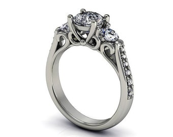 moissanite diamonds  engagement ring in 14k white gold,  style 37WDM