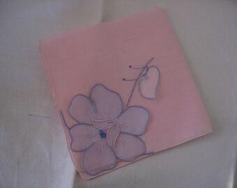 Madeira Hankie Organdy Applique Flower Handkerchief Hand Embroidered Pink Cotton a Lovely Vintage Hankie Accessory