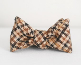Wool Tweed Bow Tie - Brown