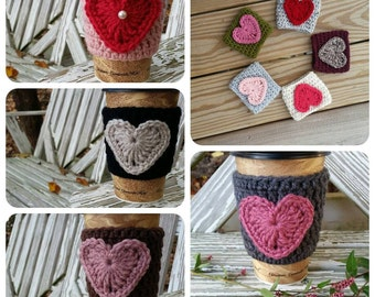 Variety of 10 crochet coffee cozys, adorable coffee cozys with heart