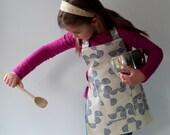 Kids Montessori Apron, Child's Art Smock, Handprinted Cotton, Fits 3-7