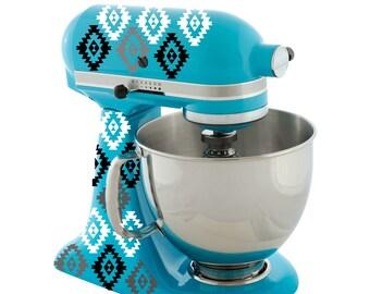 Aztec Kitchen Mixer Decals, Southwest Mixer Vinyl, Kitchen Decals, Ikat Design Decals, Baking Decals, 3 Color Choices, Choose Your Colors