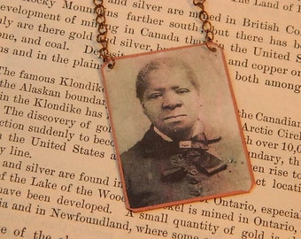 Biddy Mason necklace First African American woman land owner Los Angeles mixed media jewelry