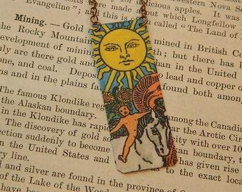 Tarot necklace or pendant tarot jewelry The Sun mixed media jewelry supernatural
