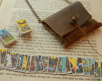 Tarot necklace tarot jewelry Complete Tarot deck in leather bag pouch