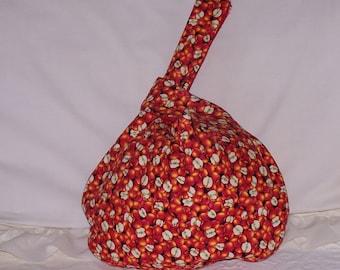 Pretty purse red fabric with apple design