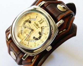 Leather Watch, Leather Watch Cuff, Brown Leather Watch, Leather Automatic Mechanical Unique Watches, Brown Wrist Watch