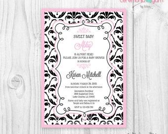 Black and pink baby shower girl printable invitation damask