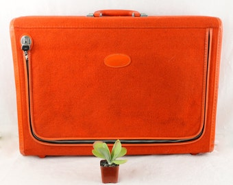 Vintage Mod ORANGE  SKYWAY SUITCASE Retro Luggage Terry cloth outside.