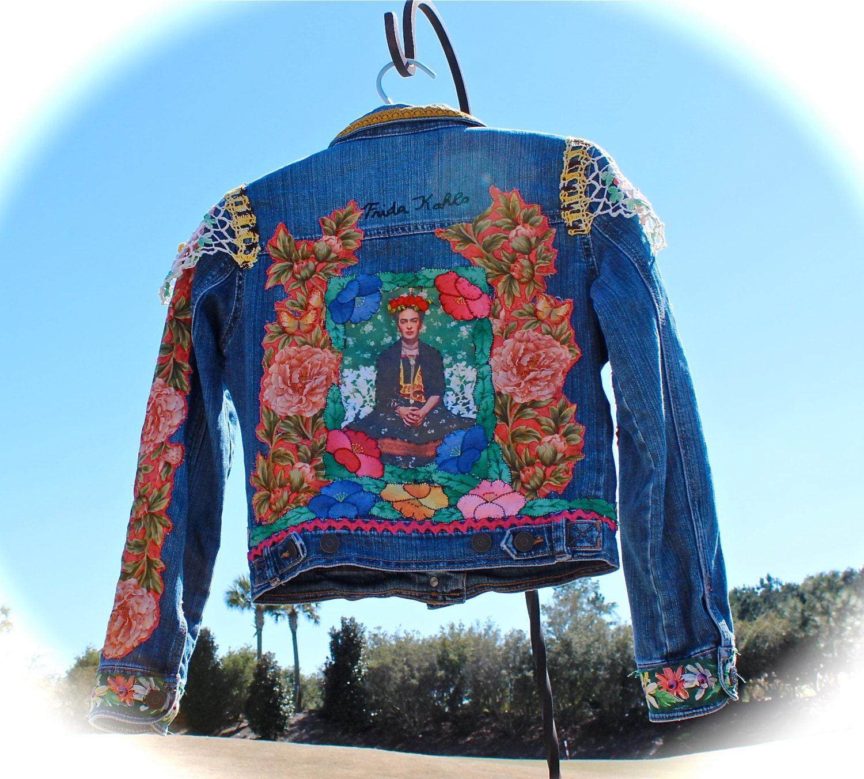 boho frida kahlo jean jacket gypsy child hippie baby woodstock. Black Bedroom Furniture Sets. Home Design Ideas