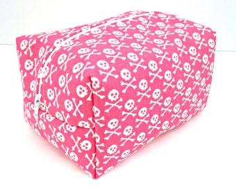 Skull and Crossbones Makeup Bag - Hot Pink Make up Bag - Water Resistant Cosmetic Bag