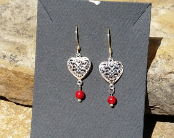 Red Coral Stearling Silver Earrings