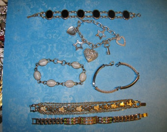 Lot Of 6 Vintage Silver & Gold Tone Design Bracelets Need Cleaning
