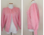 Vintage 1980's Wool Sweater / Madam Ray Designed by Italy / Pink Wool Sweater / Size S/M