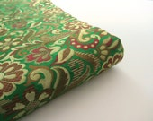Green brown red garden multicolor heavy Indian silk brocade fabric nr 557 fat quarter