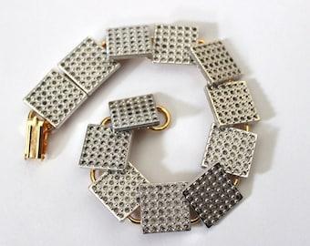 Silver Plated Square Crystal Set Tile Gold Plated Link Bracelet