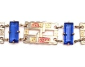 CHRISTMAS Holiday Sale, Art Deco Enamel Bracelet Blue Glass Bracelet Vintage Jewelry, Gift for Her