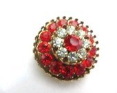 CHRISTMAS Holiday Sale, Vintage Coro Brooch Red Rhinestone Brooch 1940s Vintage Jewelry, Gift for Her