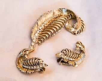 Rhinestone Feather Vintage Jewelry Set Brooch with Earrings  SUMMER SALE