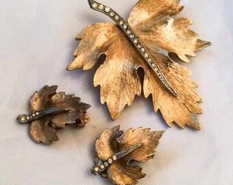 Rhinestone Leaf Brooch with Earrings, Vintage Jewelry Set, SPRING SALE