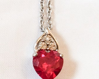Red Glass Pendant, Cubic Zirconium, Sterling Silver, Australian Vintage Jewelry, VALENTINE SALE