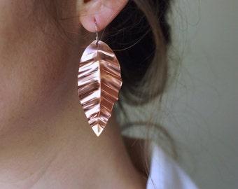 Hand Formed Large Copper Leaf Earrings